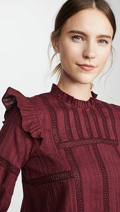 Sea Ny, Beautiful Blouses, Pin Tucks, India Fashion, Ruffle Trim, Mock Neck, Designer Dresses, Ready To Wear, Ruffle Blouse