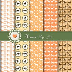 Orange Horses Digital Scrapbooking Paper Pack  by blossompaperart, $3.50 This is definitely a must have!