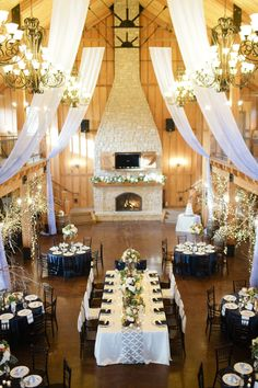 White and Navy Wedding Reception