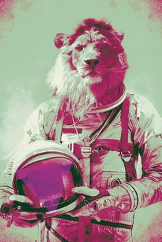 space lion astronaut - Looks like it could be C. J. Cherryh's Chanur