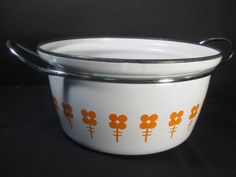 Items similar to RARE Retro Vintage CathrineHolm of Norway Orange Flowers on White Enamel Dutch Oven Pot Large Saucepan Casserole, TheRetroLife on Etsy Enamel Dutch Oven, Cast Iron Dutch Oven, Vintage Kitchen, Retro Vintage, Vintage Items, Orange Flowers, White Enamel, Pyrex, Pottery Art