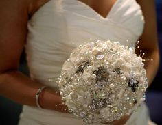pearl, crystal and bead bouquet