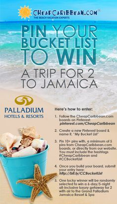 Pin your bucket list & win! #CCBucketList #CheapCaribbean #PinToWin #Contest #Giveaway #Travel