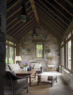 , I would live in this screened in porch. , I would live in this screened in porch Stone Cottages, Stone Houses, Stone Cottage Homes, Balkon Design, Interior Architecture, Interior Design, Screened In Porch, Design Case, Great Rooms