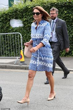 The Middleton family were out in force at Wimbledon today. Carole, Pippa and James, who was accompanied by his girlfriend Alizee Thevenet, looked stylish as they arrived for the Men's Final. James Middleton, Carole Middleton, Middleton Family, Kate Middleton Prince William, Prince William And Kate, Pippa And James, Kate And Pippa, Kate And Meghan, Red And White Outfits