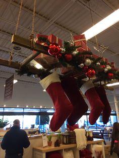 Hanging ladder display Christmas Crack, Christmas Store, Christmas Diy, Christmas Decorations, Holiday Decor, Ladder Display, Hanging Ladder, Ladder Decor, Selling Crafts
