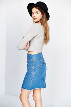 Les Expatries Field Combo Denim Skirt