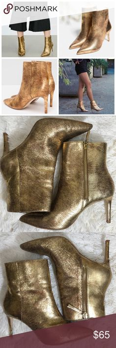 Zara Gold authentic leather high heel ankle boot Zara Gold authentic leather high heel ankle boot   2016 Autumn/Winter Basic Collection Blogger favorite!  Retail value: $120 Textured Gold metallic color Pointed toe Pull zip side closure with gold hardware US 8/EU 39 (Zara size chart)  Upper: 100% Goat leather Imported   Preowned, good condition. Wearing on sole, upper & heel, some creasing. Please review pics before purchasing :) Zara Shoes Heeled Boots