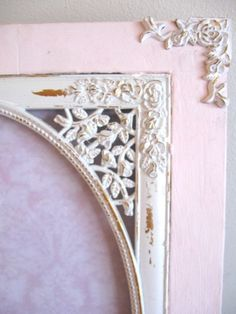 """Shabby Pale Pink & White Chic Photo Frame Ornate Roses Wood/Metal Distressed Victorian Paris Cottage Holds 10 1/2"""" x 8 1/2"""" Wedding by VintageChicPleasures on Etsy"""