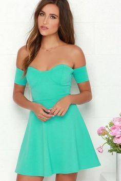 Women-039-s-LULU-039-S-Blue-Green-Off-the-Shoulder-Sweetheart-Neckline-Skater-Dress-M  2 fishes closet
