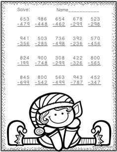 Need extra subtraction practice? These ten pages focus on three digit subtraction. Most problems require regrouping. No prep, just print and go. There is an answer key included. Math Practice Worksheets, School Worksheets, Math Resources, Math Activities, Christmas Math, Christmas Themes, Math Stations, Math Centers, Math Sheets