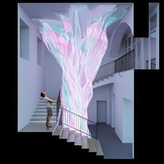 Light emitting installation inspired with topology of flower. Designed by Solid Studio