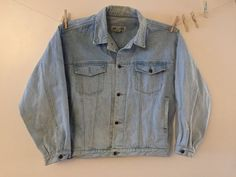 Vintage Denim Jacket 1980s Bugle Boy light stone by Reneesance