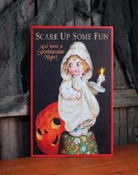 Cutest Halloween Light Up Canvas Picture Vintage Postcard Graphic Girl Jack O Lantern $16.99 @ Nanalulus Linens and Handkerchiefs