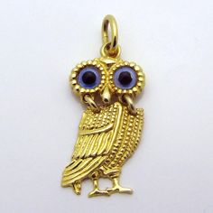 Vintage 14K Gold Movable *Blue Eyed Owl Charm* Articulated Dangle from charmalier on Ruby Lane
