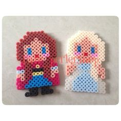 Anna Elsa Frozen perler beads by pare_perlershop Perler Bead Designs, Hama Beads Design, Perler Bead Templates, Hama Beads Patterns, Beading Patterns, Pearler Beads, Fuse Beads, Gremlins, Melted Bead Crafts