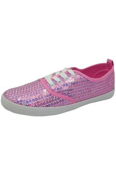 Pink Shining Sequined Lace-Up Sneakers