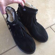 Minnetonka suede boots Low boots, hard sole, soft fleece inside, zip up on inside of foot Minnetonka Shoes Ankle Boots & Booties