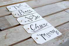 White Christmas Gift Tags Set of 5 by CreationsbyCoffee on Etsy