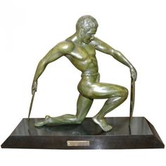 Bronze Male Art Deco Warrior statue by Kowatz French | Modernism