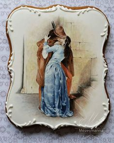Hayez:The kiss I really love it! Fancy Cookies, Iced Cookies, Biscuit Cookies, Cute Cookies, Cupcake Cookies, Birthday Cookies, Japanese Cookies, Cookies Decorados, Desserts With Biscuits