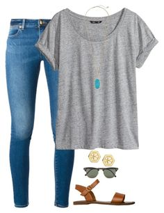 """love yourself❤"" by daydreammmm ❤ liked on Polyvore featuring MICHAEL Michael Kors, H&M, Kendra Scott, Tory Burch, Steve Madden and Ray-Ban"