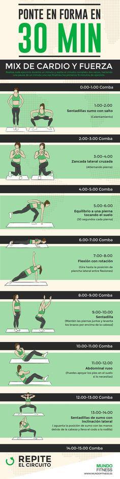 Ponte en forma en 30 minutos: rutina de cardio y fuerza. #ejercicio #cardio #infografia