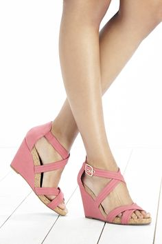 Pink platform wedge sandals with a comfortable cork foot bed and gold-toned hardware. Such a pretty shoe for spring & summer.   By @solesociety