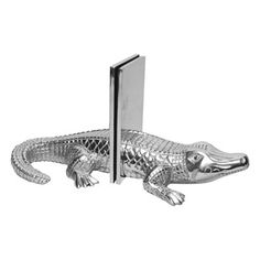 St. Croix Trading A1113 Kindwer Cast Aluminum Alligator Bookends, Silver