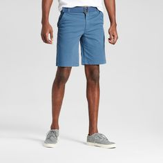 Men's Belted Flat Front Chino Shorts with Stretch Teal (Blue) 40 - Mossimo Supply Co.