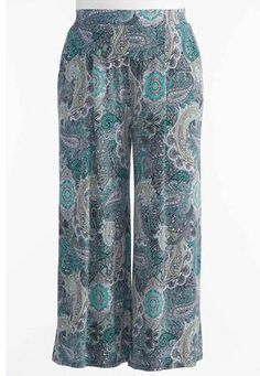 Cato Fashions Blocked Paisley Wide Palazzo Pants-Plus #CatoFashions