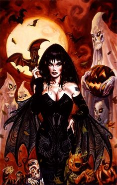 """I have an autographed copy of this from 1994 when I met the artist. """"Halloween Queen"""" by Dan Brereton Halloween Kunst, Halloween Pin Up, Halloween Artwork, Halloween Queen, Halloween Pictures, Fantasy Kunst, Dark Fantasy Art, Fantasy Artwork, Dark Art"""