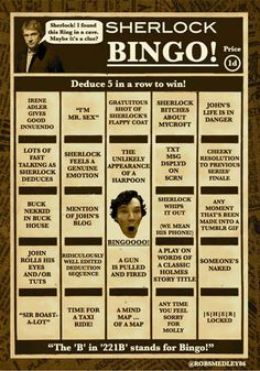Sherlock | 19 Awesome Bingo Cards To Play While Watching Your Favorite TV Shows
