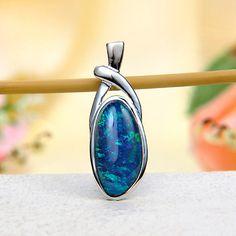 Ocean Blue Fire Australian Black Opal Triplet (Boulder Opal) Pendant