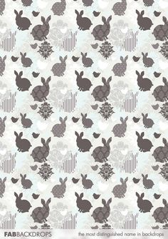 FabVinyl Easter Wallpaper Bunnies And Birdies Backdrop is an old style backdrop for Easter portraits, parties, and vintage themed events. Easter Wallpaper, Black Wallpaper, Easter Backdrops, Paper Animals, Easter Stuff, Photography Backdrops, Bunnies, Clip Art, Quilts