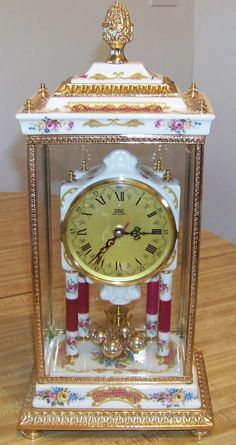 Vintage Cerimiche/Ceramic Large Floral Anniversary Clock in Ornate Case - Italian with German Movement by PaintedOnPlaques on Etsy, $375.00