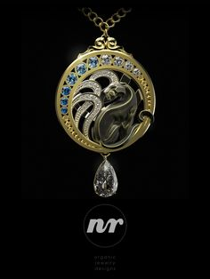 Art Nouveau Panther Ring by Nacho Riesco Panther Ring, Organic Sculpture, Zbrush, Art Nouveau, Sculpting, Wax, Jewelry Design, Pendant Necklace, Gold