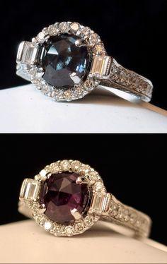 My oh my! Captivating Royal Natural ALEXANDRITE & Diamond Ring