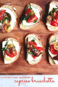 Sweet tomatoes, basil, and fresh mozzarella cheese on top of toasted baguette slices—this appetizer is summer on a plate!
