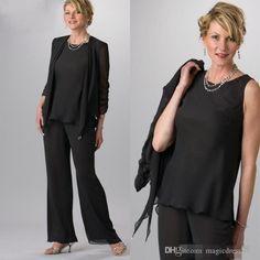 cfbda2c53713 Plus Size Black 2016 Mother Of The Bride Pant Suit with Jacket Formal  Chiffon Ladies Suits