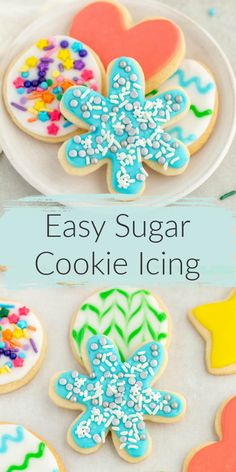 This Easy Sugar Cookie Icing recipe is made with just a few simple ingredients and incredibly easy to make too. Perfect for decorating sugar cookies for any holiday! Christmas Sugar Cookies, Holiday Cookies, Christmas Treats, Christmas Baking, Easter Cookies, Christmas Recipes, Winter Christmas, Merry Christmas, Cookie Frosting Recipe
