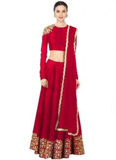 Pleasance Red Embroidered Work A Line Lehenga Choli