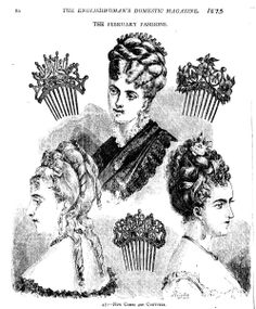 An illustration from a Victorian fashion journal showing the elaborate mantilla style haircombs and hair styles in vogue in the 1880s.