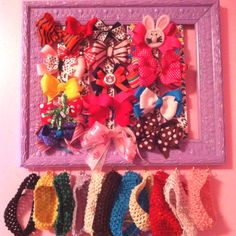 Hairbow holder...awesome for headbands too...just use a picture frame!