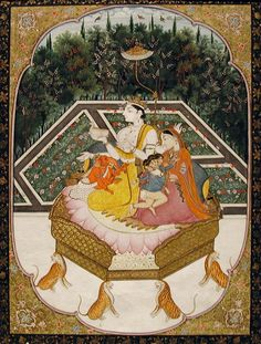 Shiva with his family enthroned [in a very formal garden] |   Artist: Sajnu. Date: ca. 1840 (or earlier)  Dimensions: 8 27/32 in. x 6 9/16 in. (22.5 cm x 16.7 cm) Credit Line: Edwin Binney 3rd Collection Accession Number: 1990.1142 The San Diego Museum of Art via flickr.