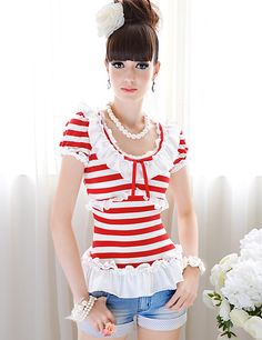 Charming Stripes Flouncing Puff Sleeve Slim Cotton Tees