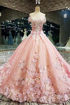 Pretty Quinceanera Dresses, Pretty Prom Dresses, Pink Wedding Dresses, Princess Wedding Dresses, Bridal Dresses, Wedding Gowns, Bow Wedding, Pink Princess Dress, Disney Princess