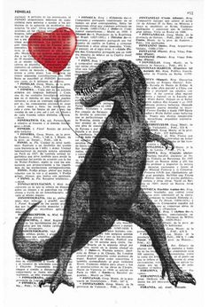 Yay! We have back our BUY 2 GET 3 deal. So, when you buy 2,4,6 Book prints or more, you can get an extra free print for each 2 Book prints that you bought. Please, to get your free prints do not forget to add a note to us with the word  FREESURPRISE  T Rex with a heart shaped red ballon Print on a sheet from a vintage enciclopedic book The page is about 6.4x9.6 inches (16.5x24.4cm).   Your print will be packaged in a clear plastic sleeve, with a cardboard insert to protect the print while…