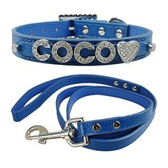 """Didog(TM)Personalized Small Girl & Boy Dog Collar & Leash Set with Free Customized Bling Name Letters and Charms for Youkshire Terrier, Shih tzu(Blue,XS 8-10"""") Didog LLC. http://www.amazon.com/dp/B00X5KBPI8/ref=cm_sw_r_pi_dp_2Dq5vb17KFG6N"""
