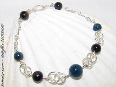 Bracelet Apatite bleue, Oeil de Faucon et argent massif 935 fait main par Nathalyne : Bracelet par nathalyne